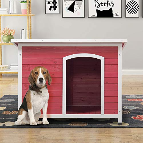 COZIWOW Large Outdoor Deluxe Slant-Roofed Wood Dog Pet House Shelter Kennel with Open Entrance,Red & White, 43.3'x29.5'x32'