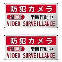 防犯ステッカー2枚セット 防犯カメラ常時作動中 メタリックタイプ