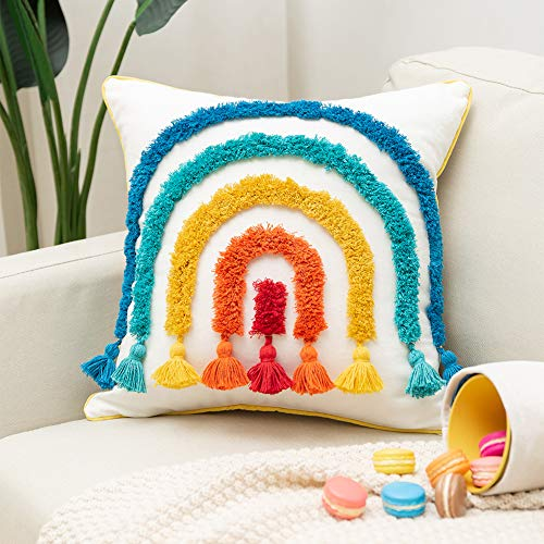 Boho Rainbow Decorative Throw Pillow Cover Colorful Tufted Tassel Kids Pillow Cover for Playroom Nursery Teepee Reading Nook Couch Bedroom, 18 X 18 Inch Square Pillow Case Fun Cute Rainbow Shape