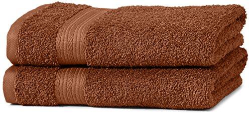 AmazonBasics kleurvaste handdoek-set, 2 handdoeken, eikelbruin 500 g/m²