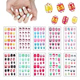 240Pcs Fake Nails for Kids, 10 Boxes Children...