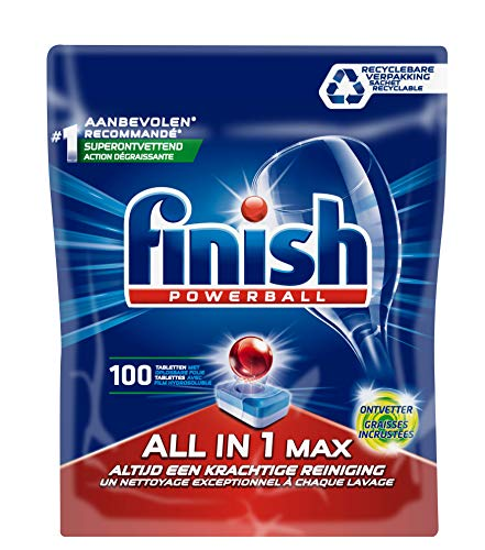 Finish All in 1 Max Grease Fighter, Vaatwastabletten met Powerball, Voor Schone en Glanzende vaat, Kwartaalpak, 100 Stuks