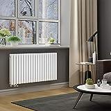 ELEGANT Design Paneelheizkörper Röhren 600x1180mm Weiß Doppellagig Badezimmer/Wohnraum Horizontal Heizkörper Seitenanschluss Badheizkörper Radiator