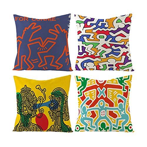 Keith Haring Patroon Home Decoratie Quare Kussen Hoezen Set Van 4 Gooi Kussen Cover 18x18 Voor Home Office Bank Bank Auto 45cm X 45cm, Met Onzichtbare Rits 262