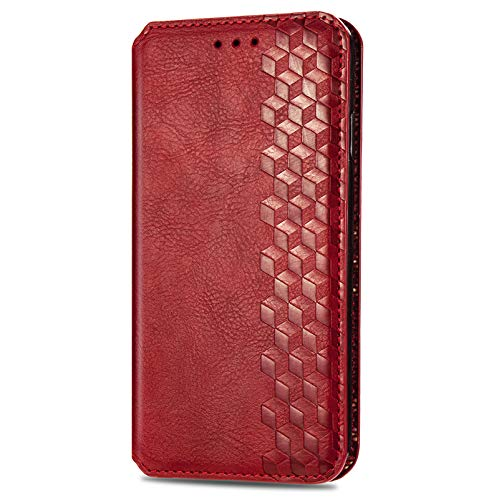BOWFU Premium Leather Case for Samsung Galaxy S21 Ultra, Flip Cover with [Magnetic Closure] [Card Slots] [Horizontal Viewing Stand] [Durable Frame] Folio Case-Red