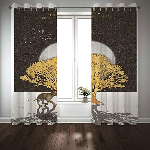 Kihomedy Cortinas modernas para dormitorio, diseño de leopardo, color gris, dorado, árbol y luna, para decoración de sala de estar, 20 x 100 cm, 2 paneles