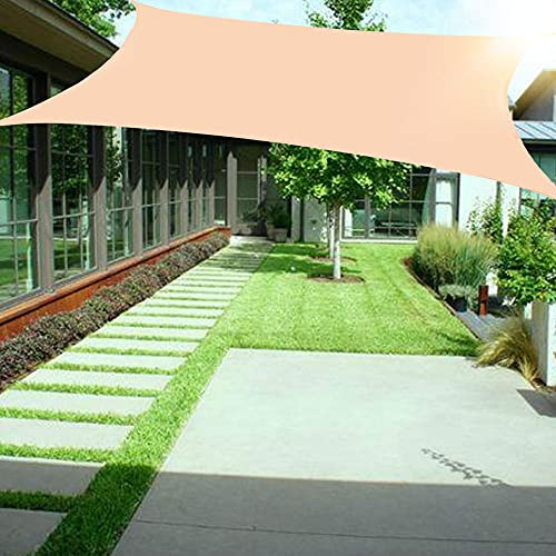 Wsaman 2x2m Toldo Vela de Sombra Rectangular, Toldo Vela Parasol Protección UV Impermeable Vela de Sombra Toldo Vela Antidesgarro con Kit De Hardware para Exterior, Jardín, Terrazas,Cream