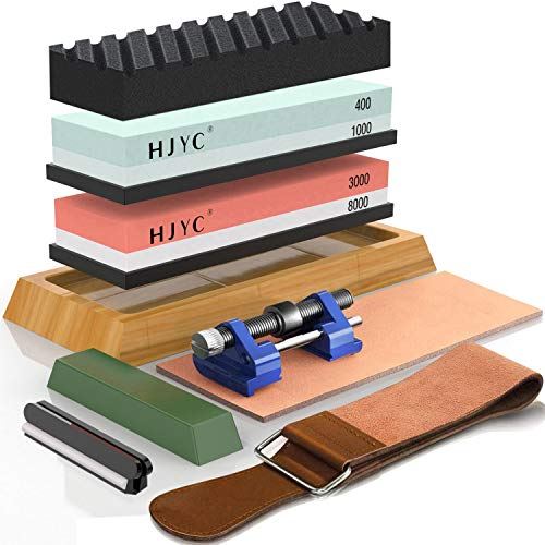 Knife Sharpening Stone Set,4 Side Grit 400/1000 3000/8000 Water Stone,Whetstone Kit with Non-slip Bamboo Base,Flattening Stone,Angle Guide,Leather Strop,Polishing Compound and Honing Guide.