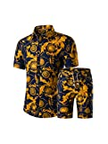 PASOK Men's Floral 2 Piece Tracksuit Casual Button Down Short Sleeve Hawaiian Shirt and Shorts Suit DC06 M
