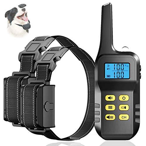 Collar Adiestramiento Perros Recargable, Collar antiladridos Shock con Pitido y Vibración, Rango Remoto de 1000 Metros