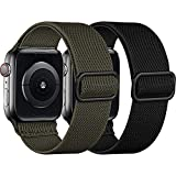 [2 Pack] SNBLK Compatible with Apple Watch Bands 44mm 42mm 40mm 38mm, Adjustable Stretchy Elastic Solo Loop Sport Nylon Strap Compatible for iWatch Series 6 5 4 3 2 1 SE, Black/Army Green, 42mm/44mm