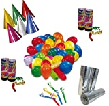 KarnevalsTeufel Party - Set, Dekoration | Hüte, Luftschlangen, Tröten, Konfetti-Kanone, Luftballons | Karneval, Geburtstag, Mottoparty