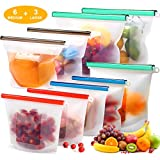 Reusable Silicone Food Storage Bags (Set of 9)-3xLarge 50oz, 6xMedium 30oz, Sungwoo Airtight Seal Food Preservation Bag/Food Grade/Versatile Silicone bags for Sandwich, Liquid, Snack, Meat, Vegetable