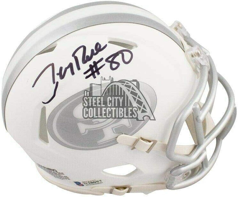 Signed Jerry Rice Helmet  Ice Mini BAS COA  Beckett Authentication  Autographed NFL Mini Helmets