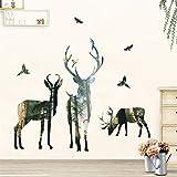 Pegatinas de pared 3D aves de bosque ciervos animal, DIY arte del vinilo Inicio Accesorios cartel, for Estudio del Corredor Oficina y antecedentes de TV Decoración 50x70cm
