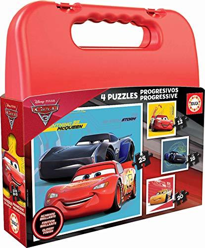 Educa- Cars Maleta Progresivos, Puzzle Infantil de 12, 16, 2