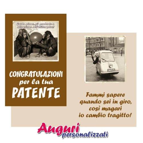 Bombo Biglietto Auguri umoristico e Divertente per Una neopatentata/o Congratulazioni per la Tua patente
