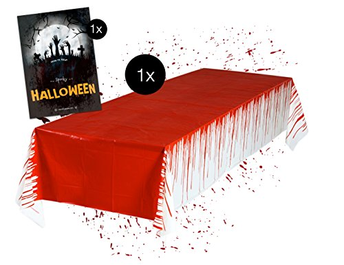 TK Gruppe Timo Klingler Tischtuch blutige gruselige Tischdecke Halloween 137 x 275 cm Deko Dekoration Tisch Tischdekoration