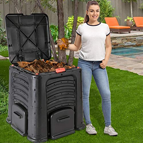 Find Bargain Zazza95shop Kitchen Garden Outdoor Patio Lawn 105 Gallon Very Lage Black Compost Waste ...