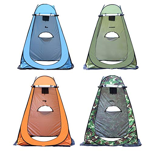 WOWCASE 1-2 Person Large Space Pop Up Shower Privacy Shelter Tent with 3 Windows, Outdoor Portable Dressing Room, Privacy Shower Tents for Camping Beach Isolation Fishing (Blue, 1.5x1.5x1.9m)
