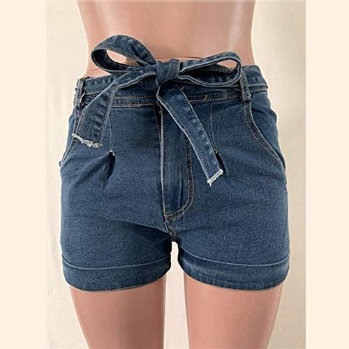 Krawatte Taille Jeansshorts Shorts Sommer Hohe Taille Knopf Fly Plain Casual Plus Size 5XL Jeansshorts Lady Hotpants M Hellblau