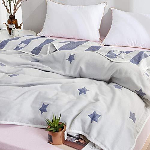 Couverture en gaze à cinq couches Petite gaze en coton frais nordique doux et confortable, respirant, double climatiseur simple, 115 cm * 150 cm, étoile bleue à cinq couches