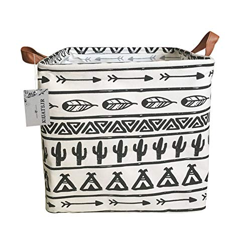Square Cactus Storage Bins Canvas Collapsible Storage Basket with Handles Toy Organizer for Nursery, Kids Toys, Closet & Laundry, Gift Baskets (Black)