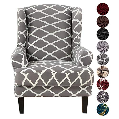 SHANNA Ohrensessel Bezug, Sofabezug Sesselbezug Stretch Elastischer Sofabezug 2 Stücke Sofaüberwurf Weiches Elasthan - Geometrisches Grau