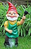 RAKSO Gartenzwerg mit Rasensprenger Figur Zwerg stehend H 70 cm großer Deko Zwerg Gartenfigur Kunststoff