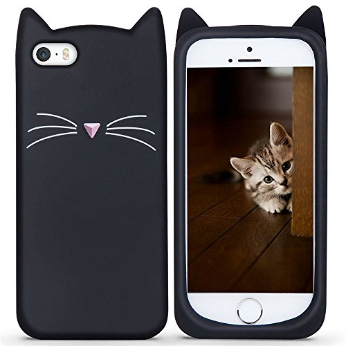 iPhone 6S Case, KIOMY Cute Funny 3D Cat Design Soft Silicone Protective Case for iPhone 6 6S (Black Cat Ears)