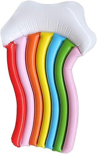 Jiasj Flotteur de Piscine Radeau Flottant en PVC Chaise Longue Arc-en-Ciel de Sept Couleurs Tapis Gonflable De Plein air été Plage Soirée Piscine Lit Flottant 180  100 cm