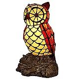 LIU Lámpara De Mesa De Vitral De Búho E27 Lámpara De Diseño Antiguo Decoración De Mesita De Noche Iluminación Interior