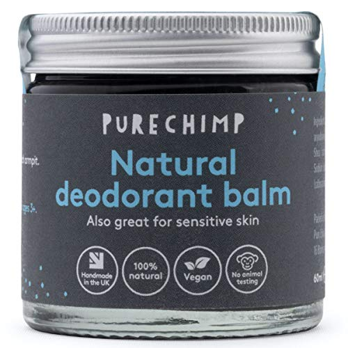 Natural Deodorant Balm 2.1oz (60ml) by PureChimp - Recyclable Glass + Aluminium Lid- Activated Charcoal - Vegan - Alcohol & Palm Oil Free For Sensitive Skin (60ml)