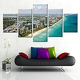 SJVR Lienzo de Miami ShoreImpresiones de Arte en la paredCuadro Personalizado de City Beach 5 Paneles para DecorarObras de Arte Sin Marco