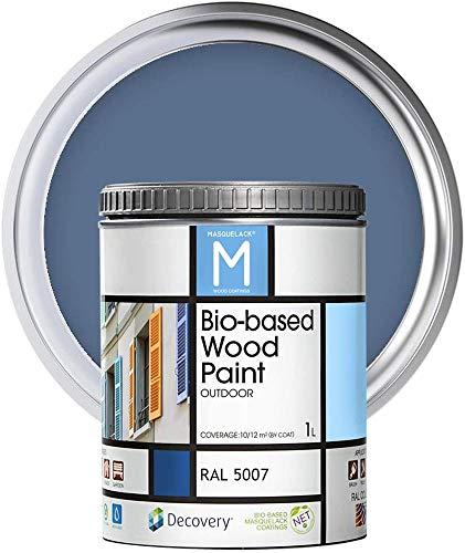 Holz-Farbe   Bio-based Wood Paint   Brillantblau   1 L   RAL 5007   Ökologische Farbe Für alle Arten von Holz   Holz im Außenbereich Farbe mit halb fertig aussehen warm und seidenmatt