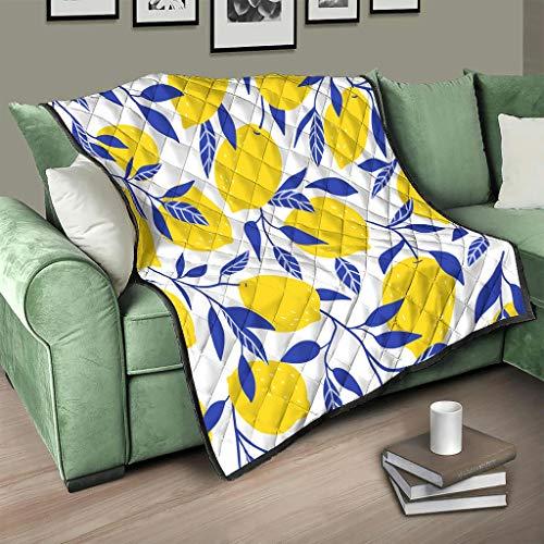 Flowerhome Colcha con estampado de hojas de limón, para cama o sofá, para adultos y niños, color blanco, 173 x 203 cm