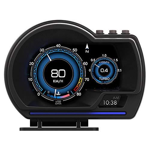 KAOLALI Universal Auto HUD OBD+GPS Sistema Dual inteligente Encabezar Pantalla con Velocímetro de Navegación, Advertencia de Exceso de Velocidad, Sistema de Alarma de Temperatura del Agua y del Aceite
