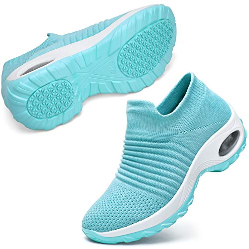 STQ Womens Sock Sneakers Slip-on Work Walking Shoes for Jogging, Running and Tennis, Teal 7.5