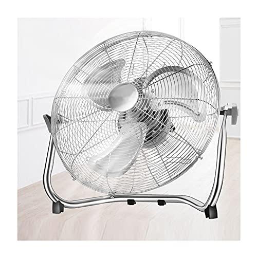 SZGR Ventilador de Suelo Industrial, 50 W, Potente Flujo de Aire, Ligero, Ajustable, con Patas Antideslizantes, 3 hélices, 3 velocidades, Motor Cobre (Plata - 10'),
