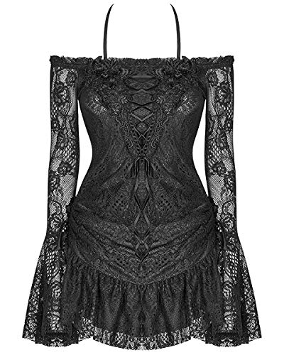 Punk Rave Donna Gothic Tunica Mini Abito Nero Rosa di Pizzo Lolita Steampunk - Nero, 3XL - UK Womens Size 18