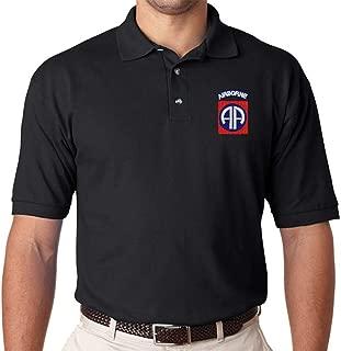 U.S. Army 82nd Airborne Polo Shirt. Black or OD Green