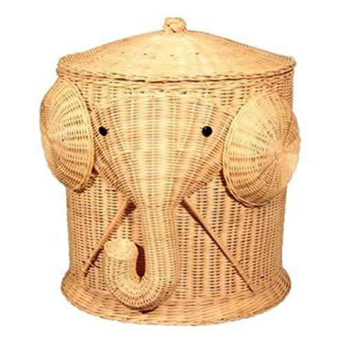 HDDFG Cesto de lavandería de Mimbre con Elefante, cesto Tejido, cesto de Ropa con Tapa, cestas de Almacenamiento Grandes de algodón, Caja para Juguetes, baño, bebé, niño
