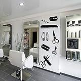 Hair Beauty Salon Barber Shop Wall Decal Shaver Pin Set Peine Tijeras Diseño creativo Poster Herramientas de peluquería Pegatinas 30X76Cm