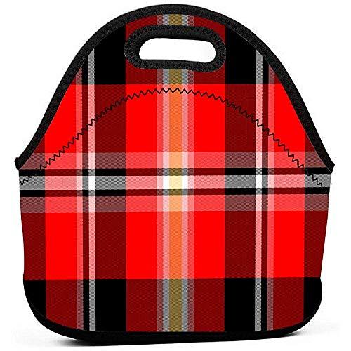 Borsa da pranzo scozzese a bufalo rossa Borsa da bento isolata in neoprene impermeabile Scatola da pranzo riutilizzabile Borsa da ufficio per picnic Scatola da pranzo per picnic