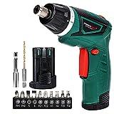 POSENPRO Electric Screwdriver Hand Drill 2X Pack 1500mAh 7.2V Li-Ion Battery MAX Torque 9N.m Rechargeable Cordless Screwdriver with 6+1 Torque,10pcs Drill Bits LED Light,Green