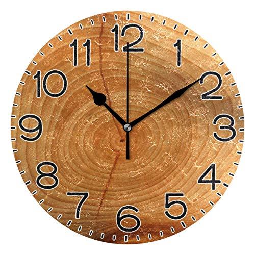 Mdt Reloj de pared con anillo de crecimiento de madera, funciona con pilas, de cuarzo, silencioso, analógico, rústico, de granja, redondo, decoración retro para el hogar, cocina, sala de estar, baño