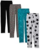 Spotted Zebra Girls' Kids Leggings, 4-Pack Super Star, Small