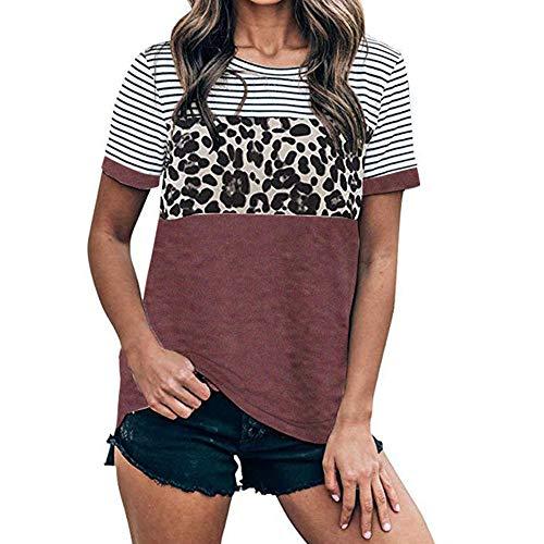 DREAMING-Camisa Casual Salvaje De Primavera Y Verano para Mujer, Cuello Redondo, Costuras De Leopardo, Camiseta De Manga Corta Rojo Oscuro S