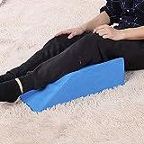 TOPINCN Elevador De Piernas Amortiguador Espuma Reposo para Las Piernas Cama Cuña Almohada Apoyo para La Rodilla Dolor Descanso Almohada para Dormir con Funda Lavable (Azul)