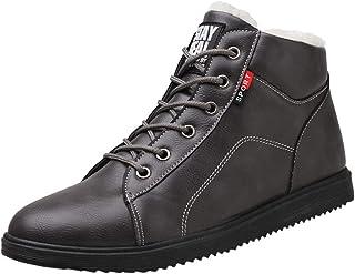 Bottines Homme Cuir Mode Pas Cher Grand Taille Boots à Talon Plates Bottes Automne Hiver Chaud En Coton ÉPais Hautes Vinta...